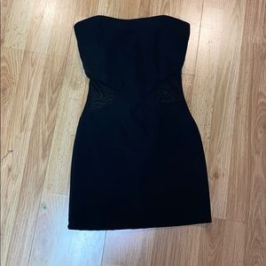 Black mini strapless dress